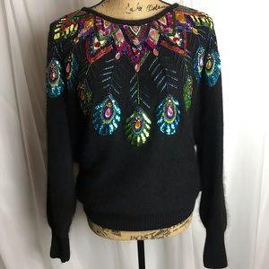 Vintage Cedars Sequin Angora Sweater